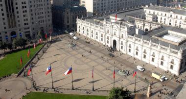 Palacio de la Moneda desde el aire-